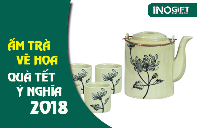 quà tặng bộ ấm trà vẽ hoa