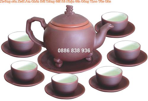 ấm trà bát tràng, quà tặng in logo