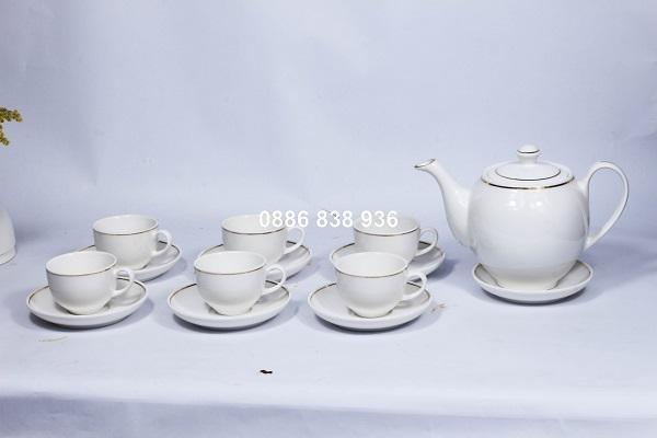 Bộ ấm chén sứ trắng in logo quà tặng giá rẻ tại tphcm
