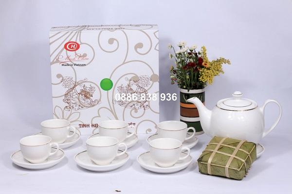 mâu ấm trà trắng giá rẻ in logo