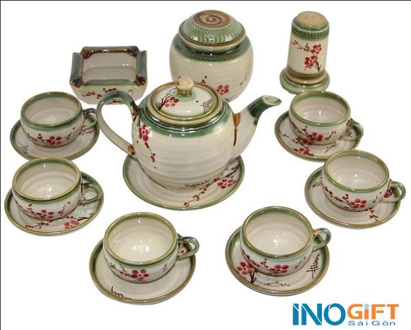 Bộ trà gốm Bát Tràng hoa đỏ