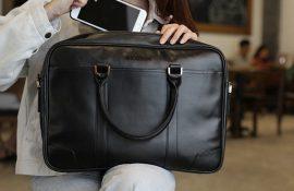 [ Quà tặng khách hàng vip ] Cặp da bò thật đựng laptop in logo sang trọng và tinh tế