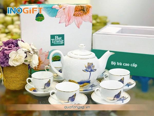 Bộ trà sen xanh Bát Tràng