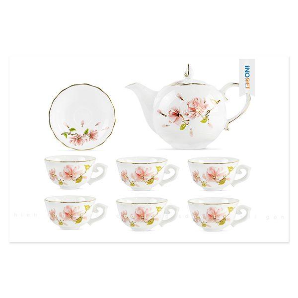 Bộ ấm trà gốm sứ mẫu đơn đào vẽ hoa ban hông