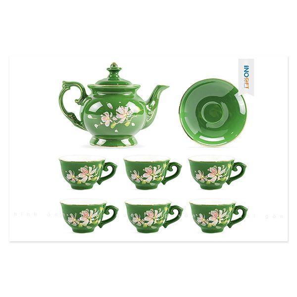 Bộ trà phú quý xanh chỉ vàng vẽ hoa ban hồng