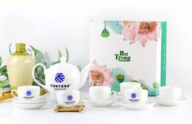 Quà tặng ấm chén, bộ ấm chén trà in logo theo yêu cầu giá tốt, chiếc khấu cao tại tphcm